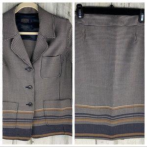 PENDLETON Navy/Tan Wool Houndstooth Suit MP/12P